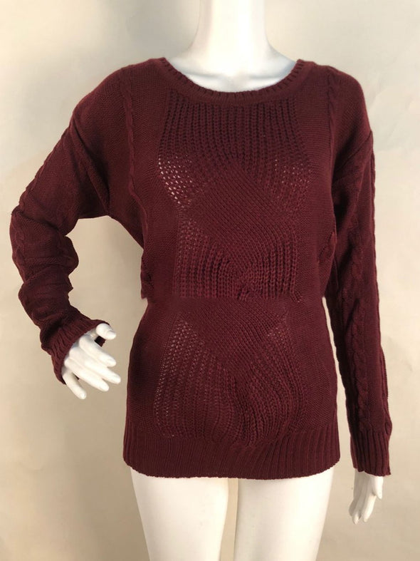Solid Acrylic Round Neck Casual Knitwear