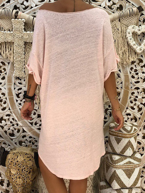 Paneled Casual Knitted Solid Dress