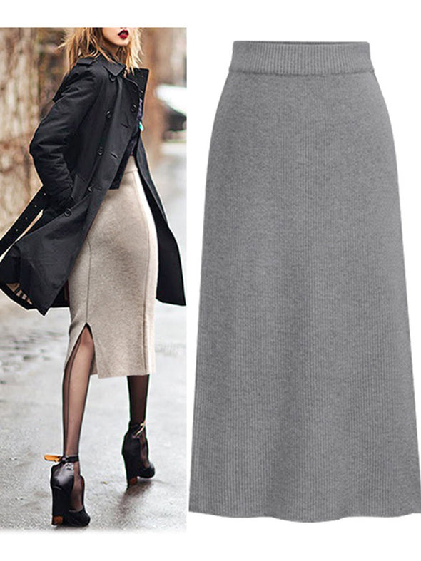 Solid Knitted Casual Skirt