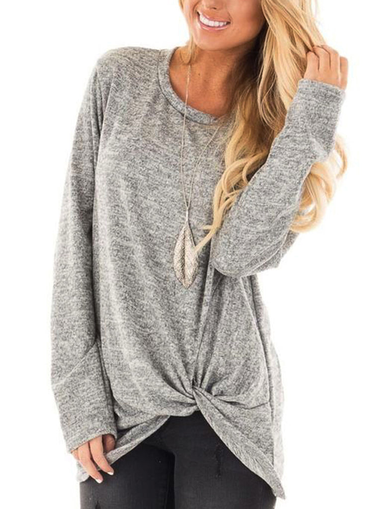 Solid Long Sleeve Tops