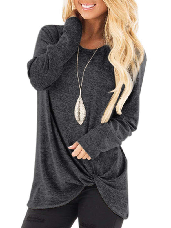 Casual Solid Long Sleeve Crew Neck Tops