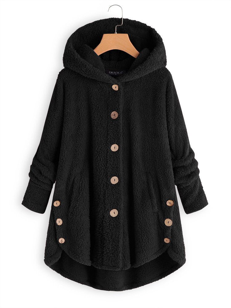 Buttoned Long Sleeve Casual Coat