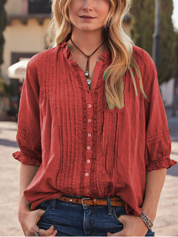 V Neck Half Sleeve Casual Tops