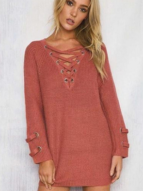 V Neck Solid Long Sleeve Casual Dress