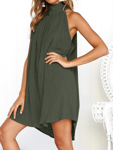 Solid Sleeveless Turtle Neck Dress