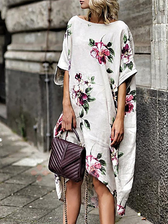 White Floral Printed Casual Dress