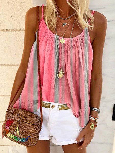 Sleeveless Crew Neck Cotton-Blend Tops