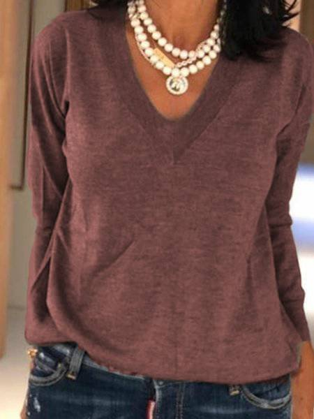 V Neck Long Sleeve Tops