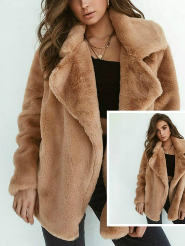 Faux Fur Plain Long Sleeve Elegant Outerwear