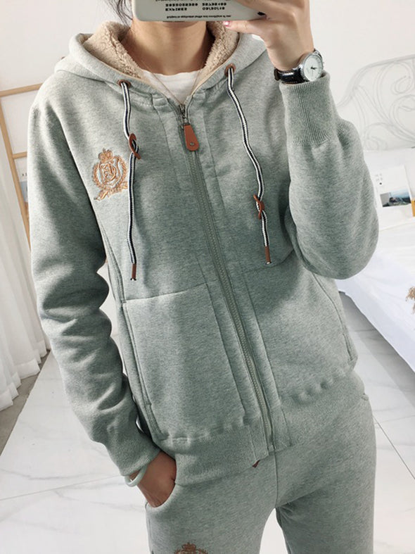 Casual Hoodie Embroidered Long Sleeve Tops
