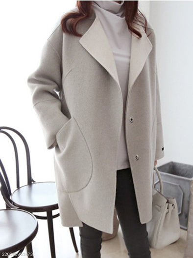 Gray Long Sleeve Solid Coat