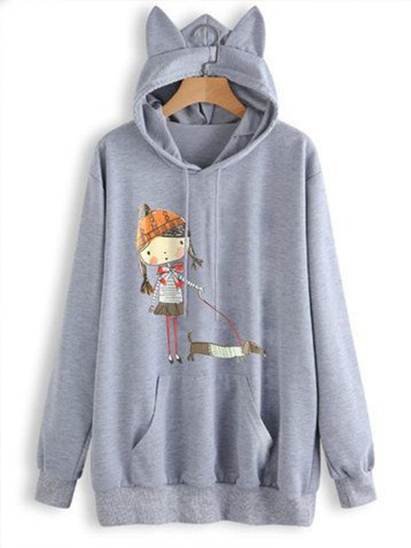 Casual Graphic Hoodie Printed Outerwear