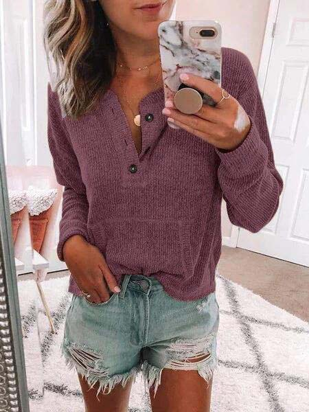 Solid Long Sleeve Vintage Buttoned Tops