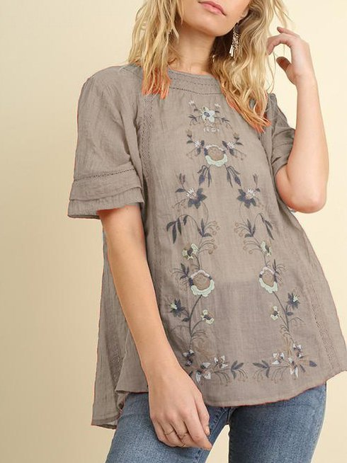 Cotton-Blend Short Sleeve Casual Floral Tops