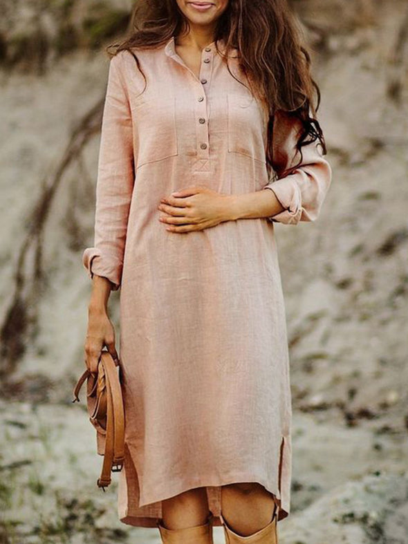 V Neck Solid Casual Dress