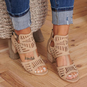 Chunky Heel Artificial Leather Summer Shoes