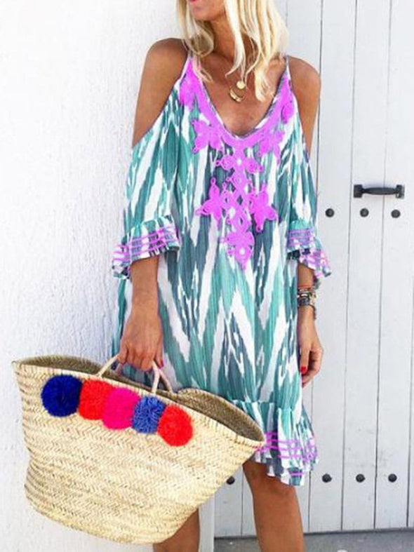 Floral Printed V Neck Short Sleeve Vacation Dresses
