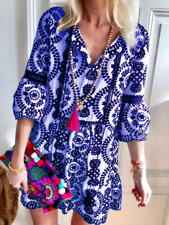 Floral-Print V Neck Shift 3/4 Sleeve Dress