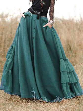 Cotton-Blend Solid Skirts