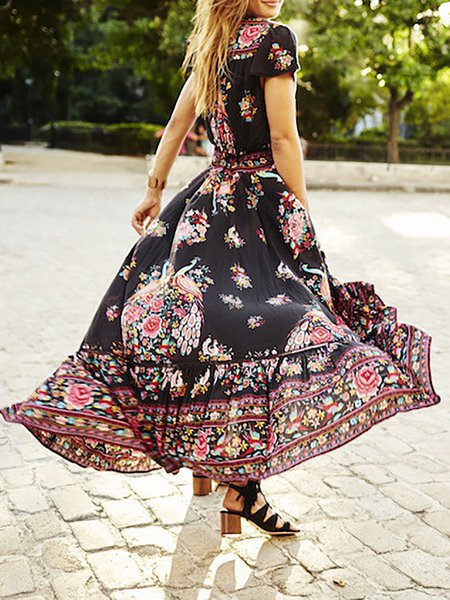 Red V Neck Floral Swing Boho Dress