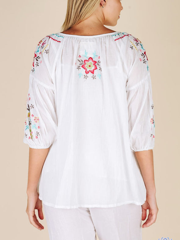 Floral Cotton Half Sleeve V Neck Tops
