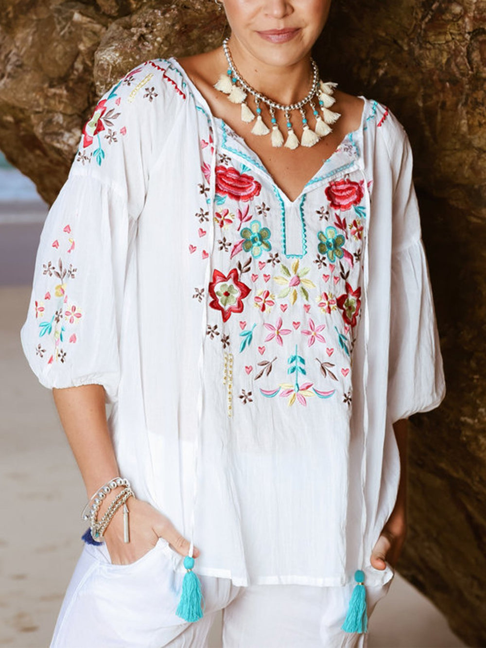 Floral V Neck Boho Shirts & Tops