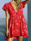 Red Boho Short Sleeve Dress