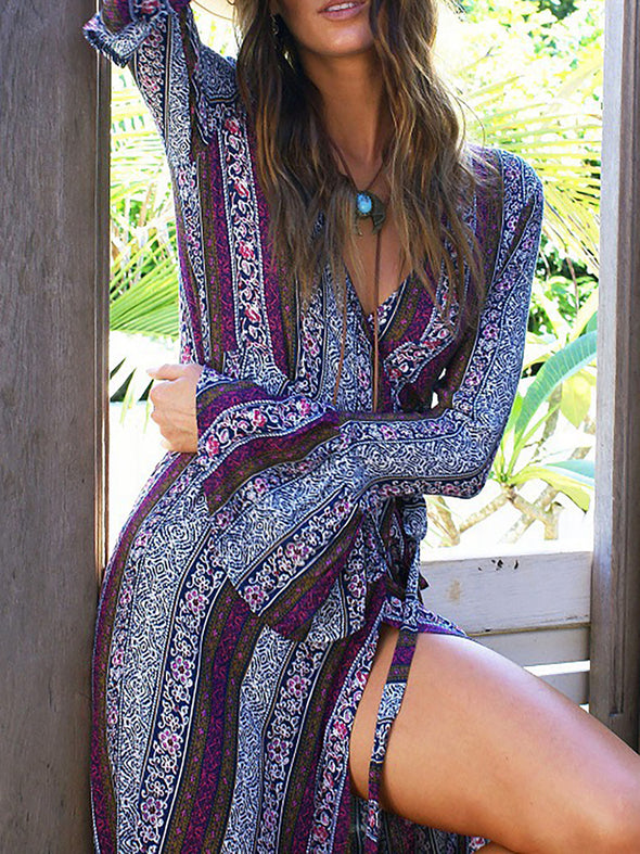 Purple Cotton Paneled Swing Boho Dress