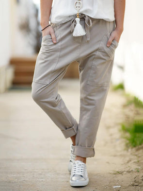 Casual Plain Drawstring Women Pockets Pants