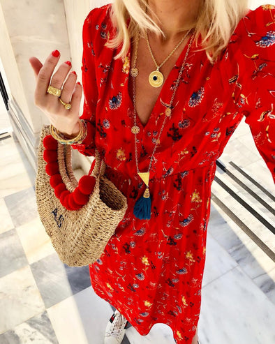 Long Sleeve Holiday Floral Dress