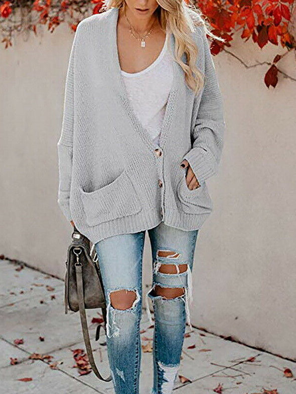 Buttoned Cotton Casual Long Sleeve Knitwear