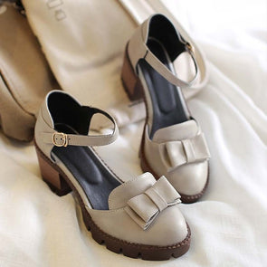 Chunky Heel Bowknot Summer Shoes