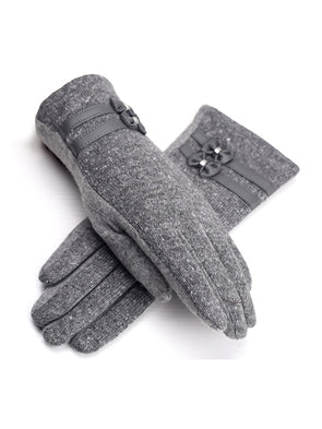 Gray Wool Solid Casual Accessories