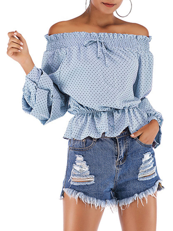 Off Shoulder Strapless Strappy Chiffon Shirt Polka-dot Puff Sleeve Top