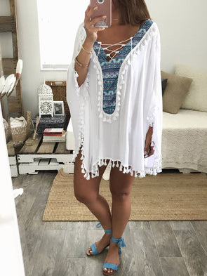 White Batwing Shift V Neck Dress
