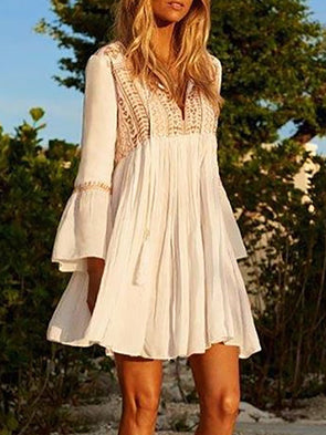 White Long Sleeve Crew Neck Floral Embroidery Dress