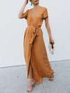 Short Sleeve Paneled Elegant Cotton Dress
