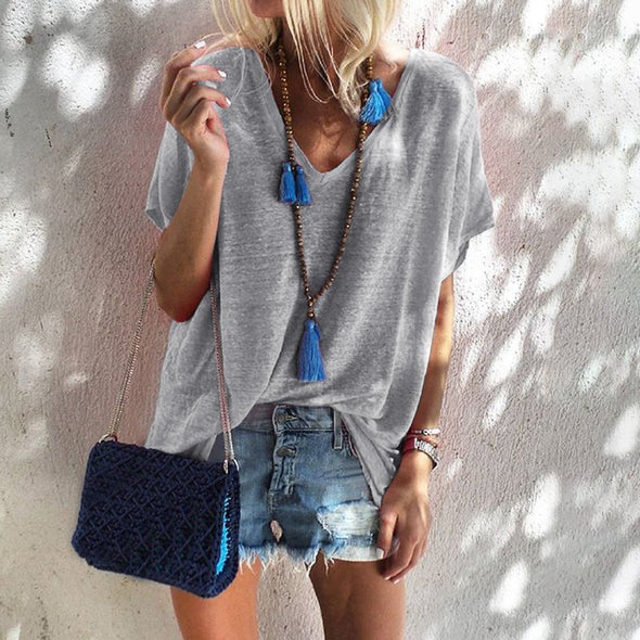 Casual Solid V Neck Tops