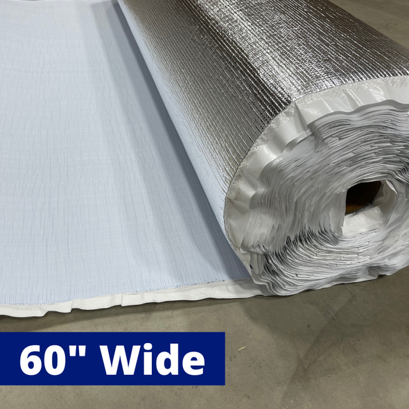 "CLOSEOUT BlueTex™ 2mm Super Wide 60"" Foil/White + Foam insulation - 700 sq ft"
