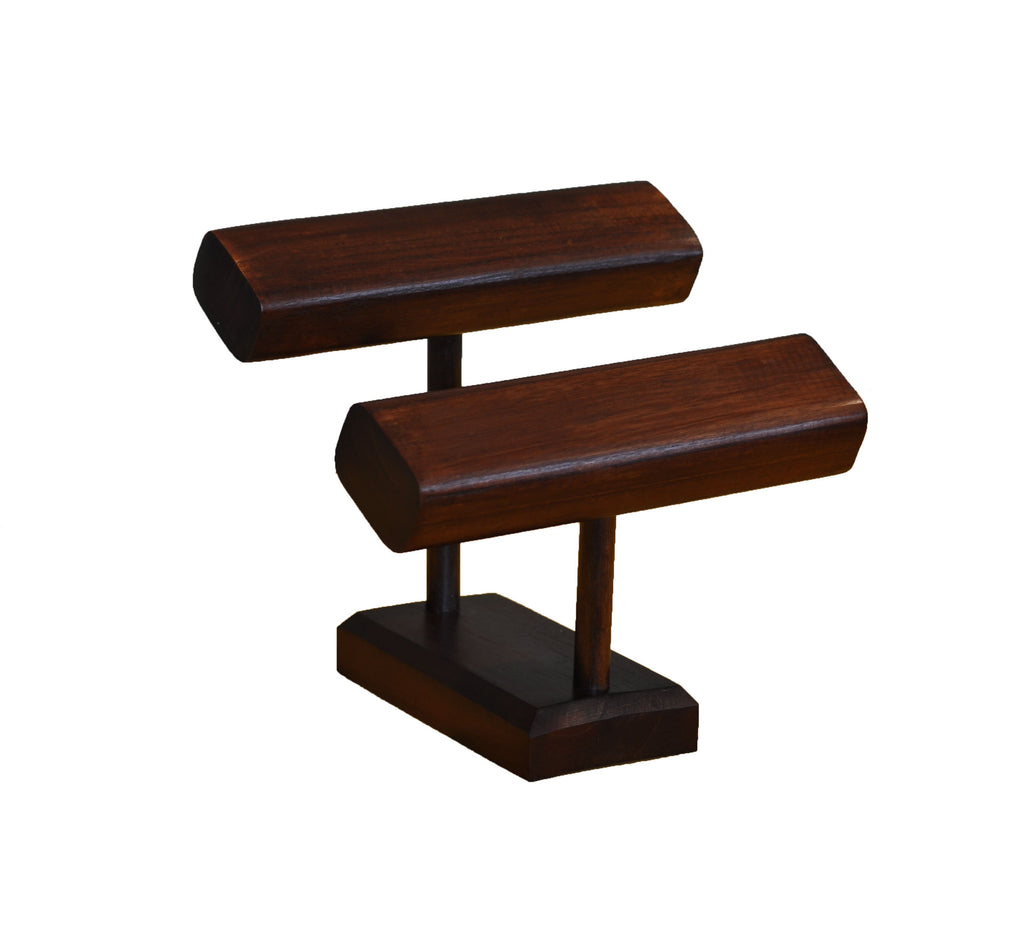 2 tier t bar bracelet stand walnut for Stand pub