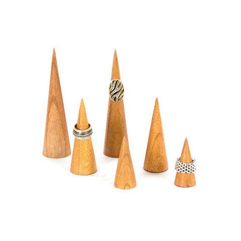 Wood Ring Cones, Set of 6 - Natural