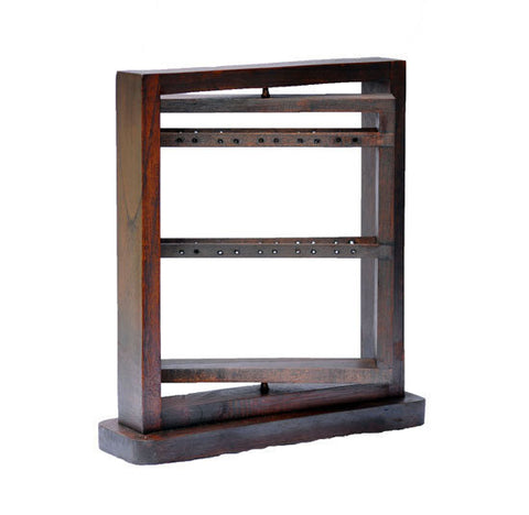 "12"" Rotating Earring Display Rack - Walnut"