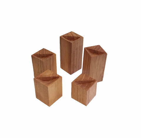 Wood Ring Riser Set - Square - 5 Piece Set (Natural)