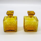 Vintage Amber Diamondpoint Decanter - Pair