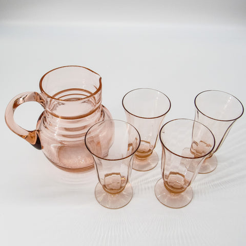 Pink Depression Pitcher and Glass Set