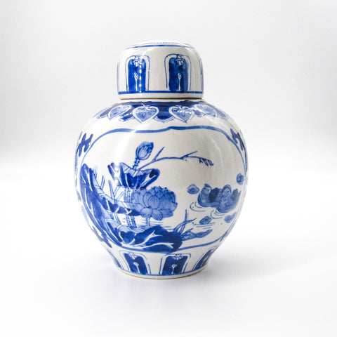 Vintage Blue & White Lotus Ginger Jar