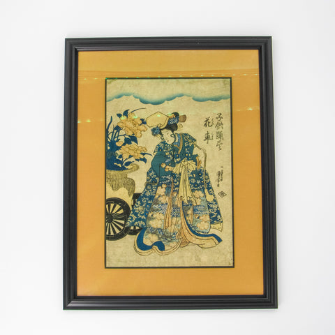 Japanese Woodblock- Woman with Florals