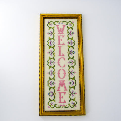 "Vintage Framed ""Welcome"" Needlework Sampler"