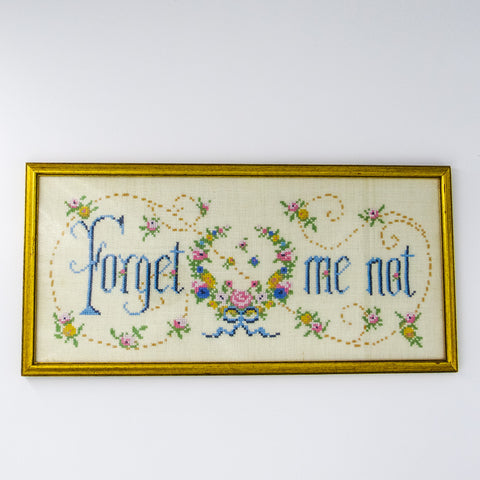 """Forget Me Not"" Needlepoint Sampler"