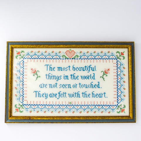 """Heartfelt"" Framed Needlepoint Sampler"